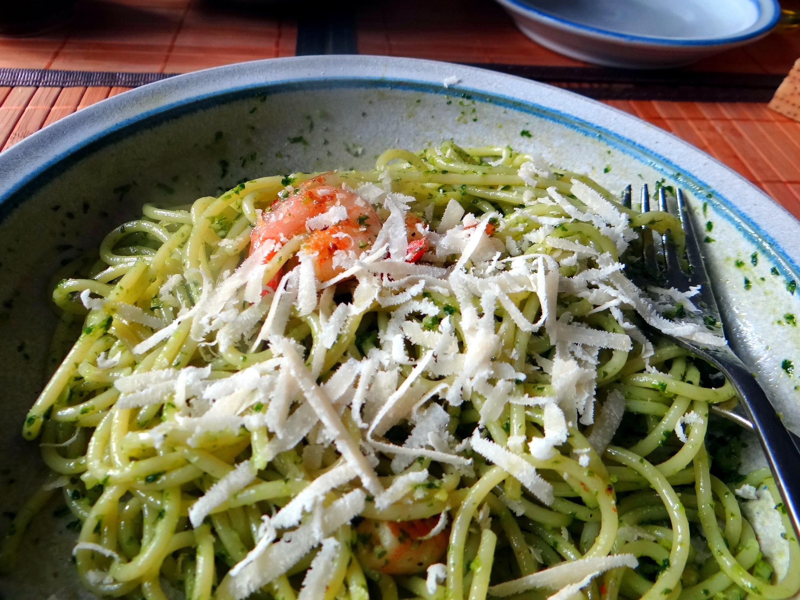 Spaghetti,Bärlauchpesto,Garnelen,Pflücksalat (14)
