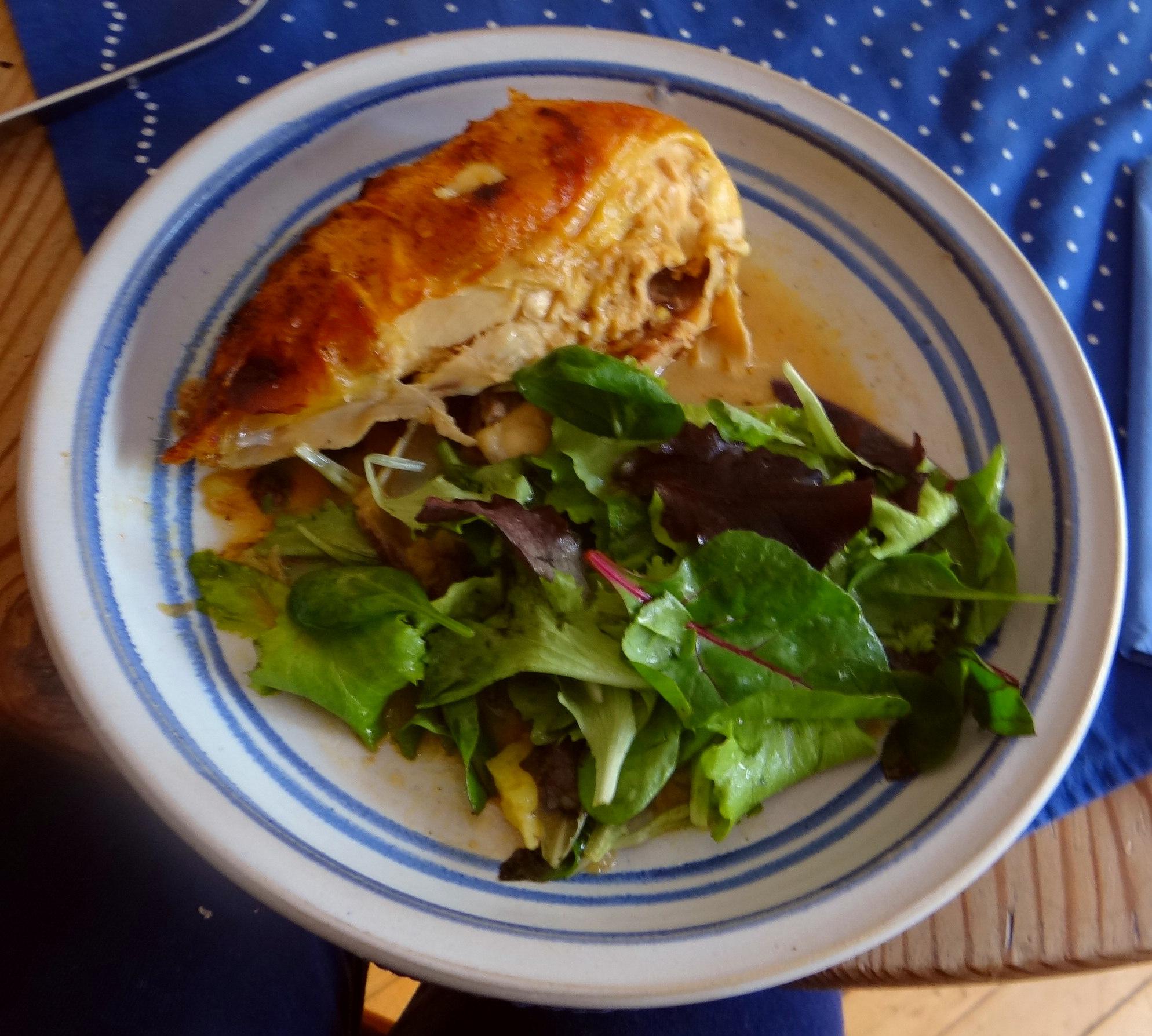 Mais Poularde,Salat,Birne in Rotwein (14)