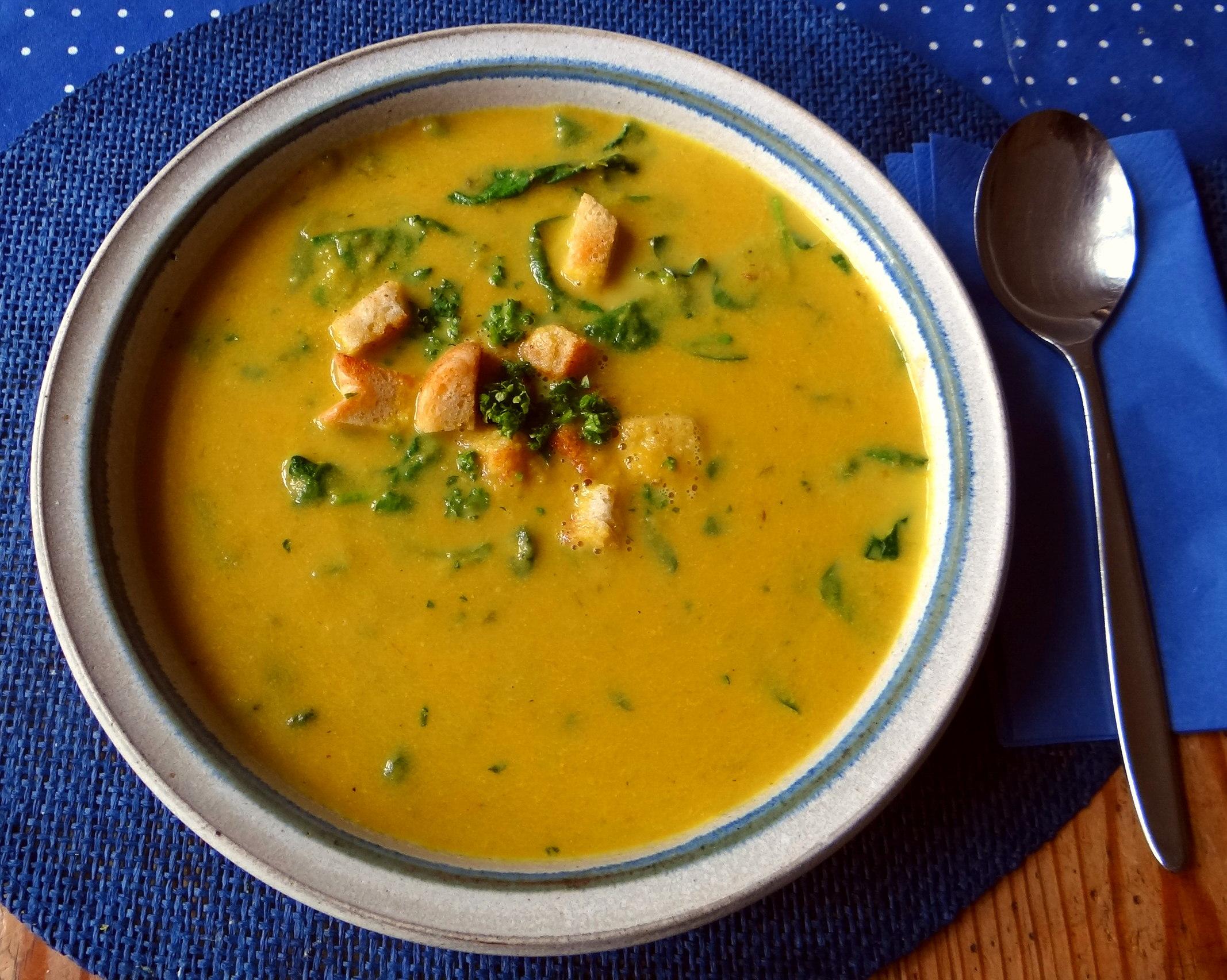 Gemüsesuppe püriert mit Spinat (1f (4)