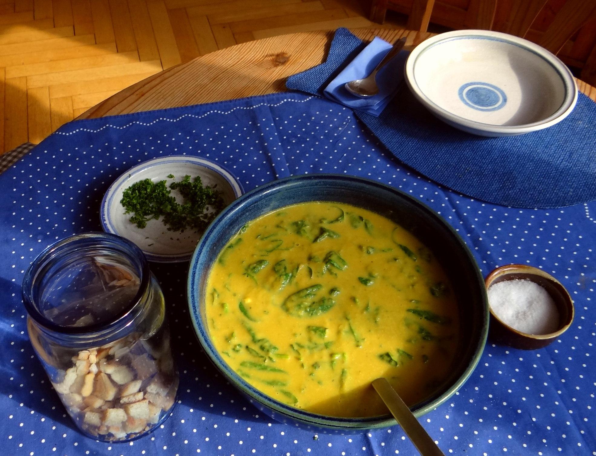 Gemüsesuppe püriert mit Spinat (1f (5)