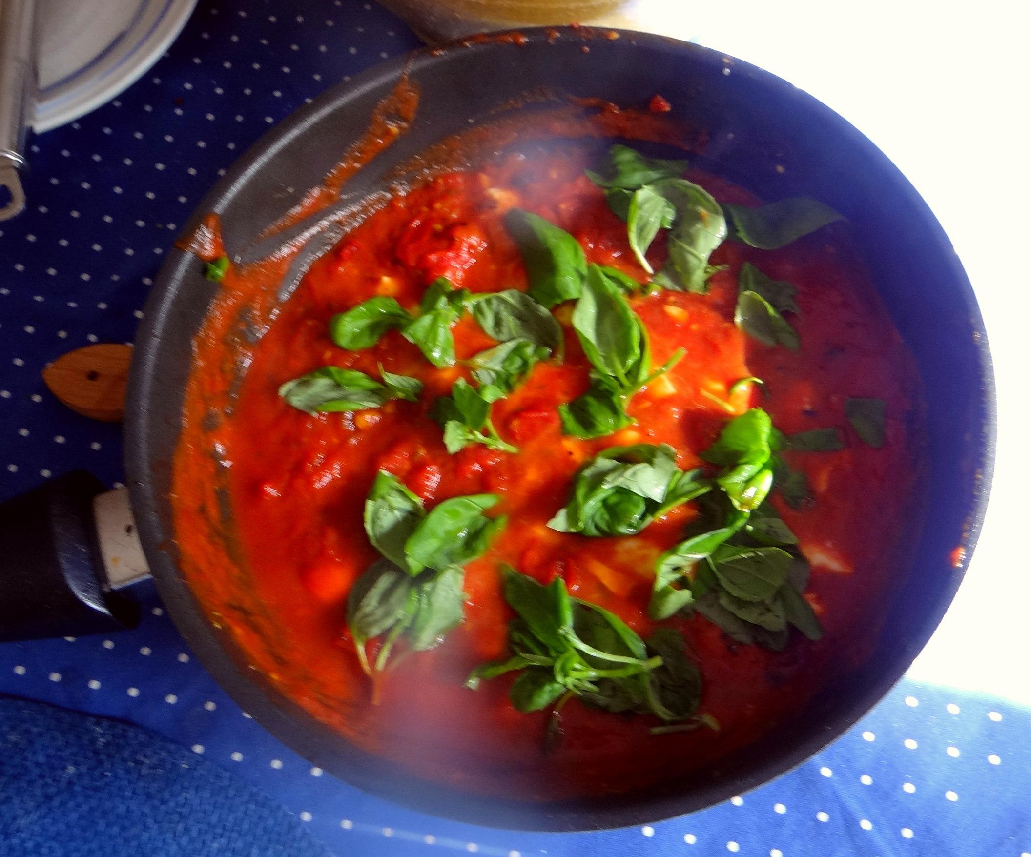 Spaghetti mit Tomatensugo (8)