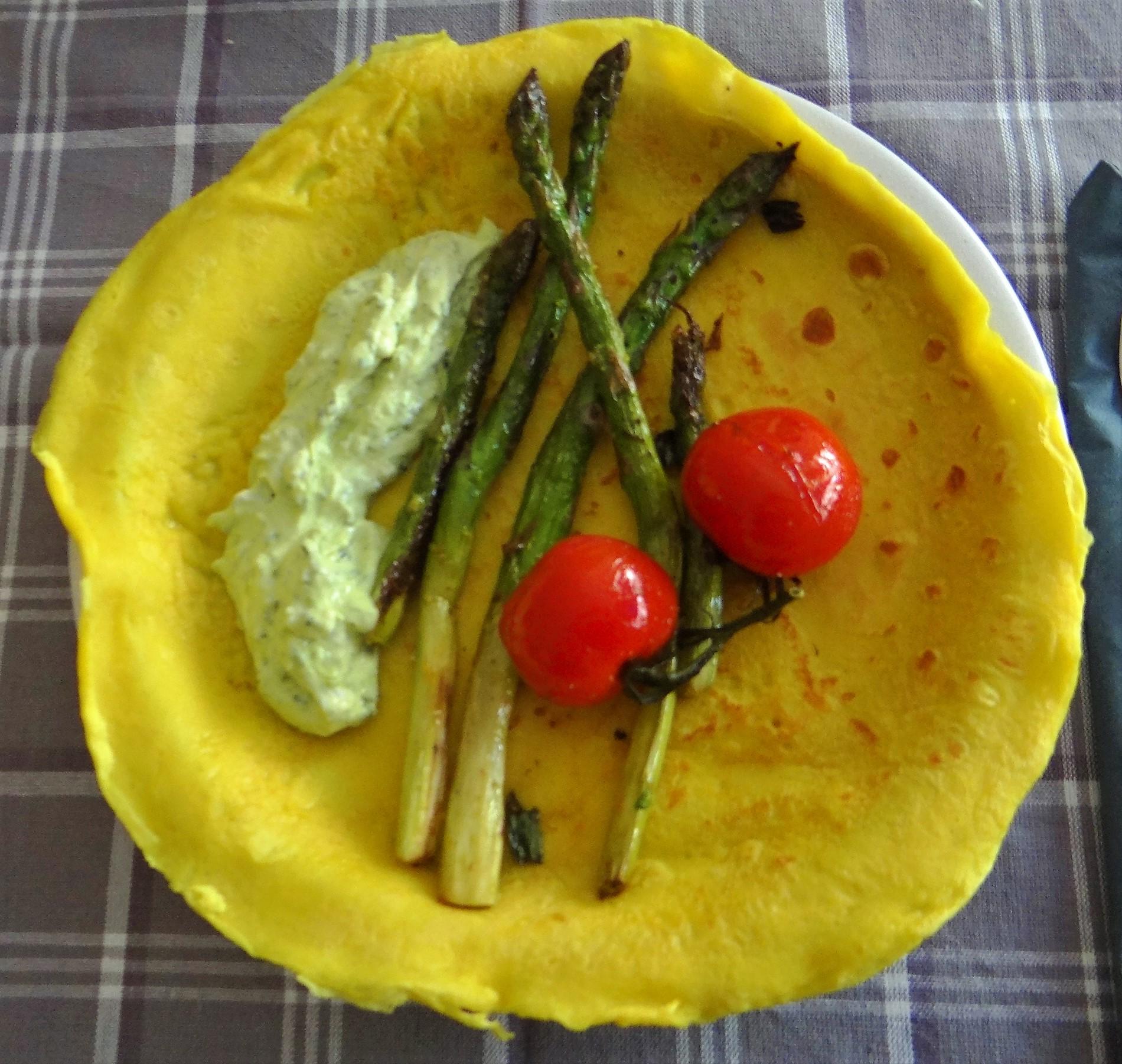 Eierpfannkuchen,Bärlauch Quark grüner Spargel (1)