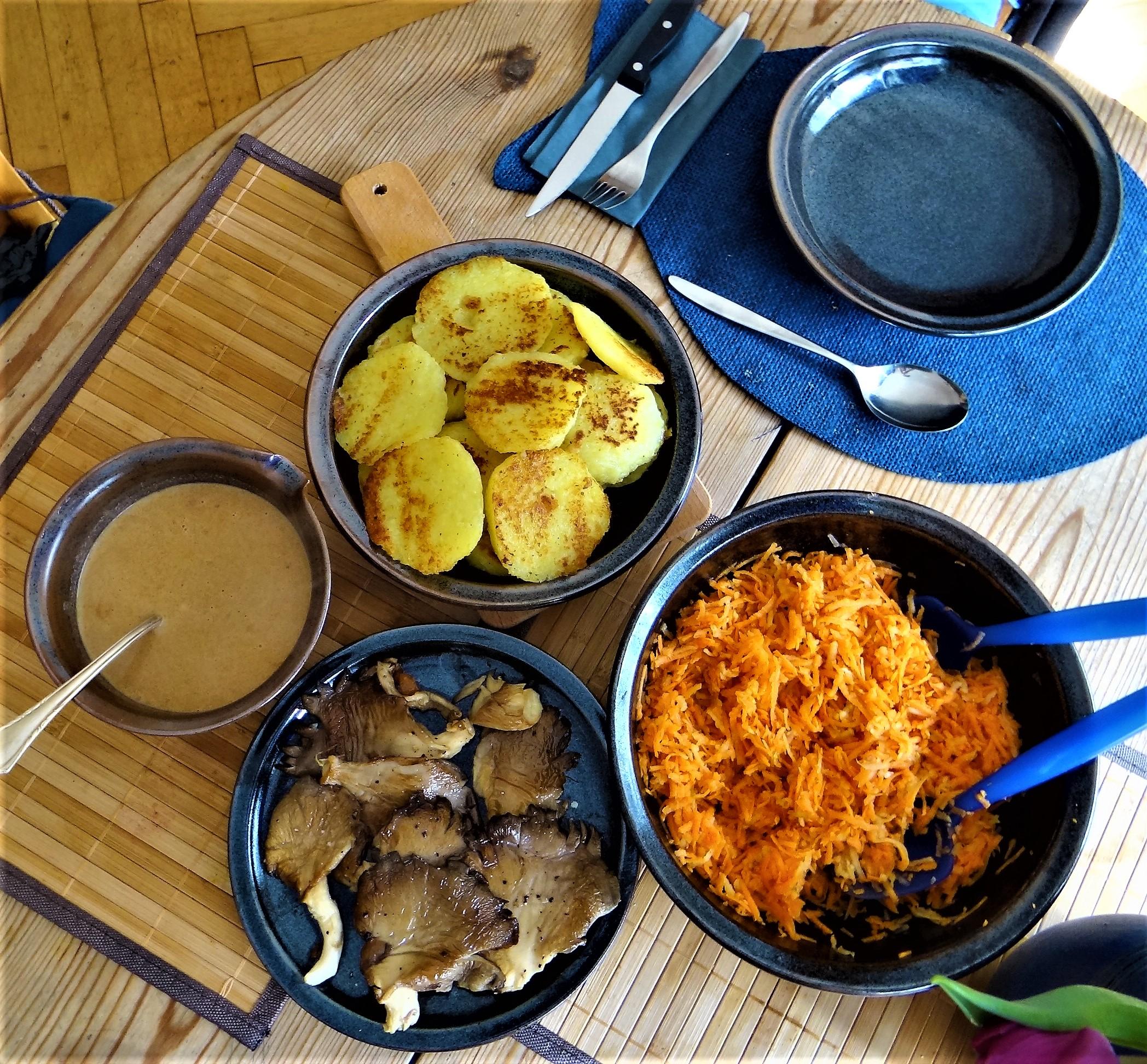 Kloßscheiben,Austernpilze,Möhrensalat (4)