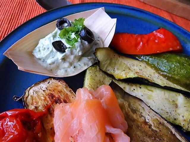 Ofengemüse,geräucherter Lachs,Bärlauch Dip (3)