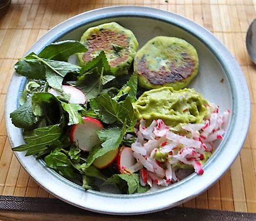 Kartoffeltaler mit Guacamole und Wildkräutersalat (26)