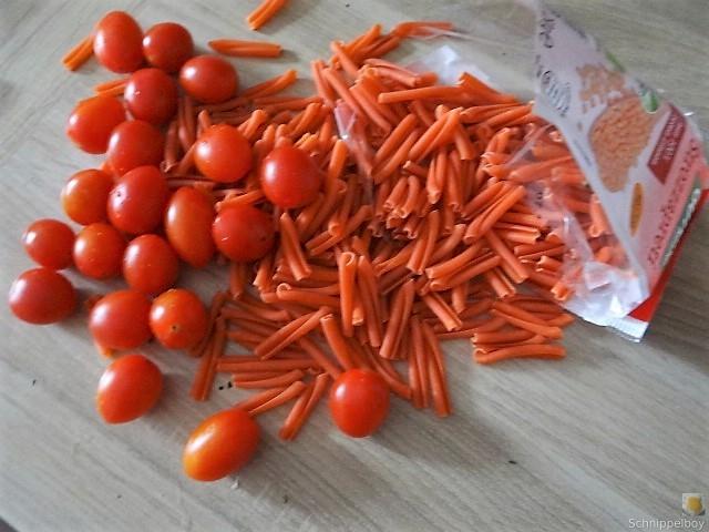 Linsennudeln, Tomaten mit Rührei (4)
