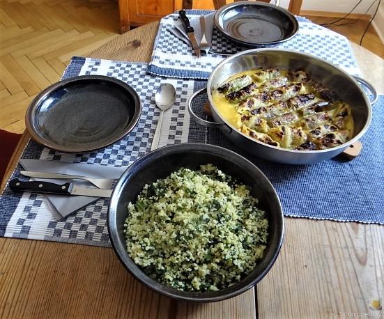 Orientalische Spitzkohlröllchen, Bulgur mit Brennessel und Löwenzahn (5)