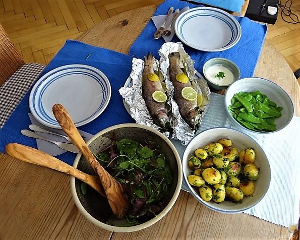 Forelle mit Petersilienkartoffel, Meerrettichdip und Salat (23)