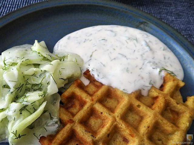 Käse_Schinkenwaffel mit Joghurt-Zitronen-Dill Dip (4)