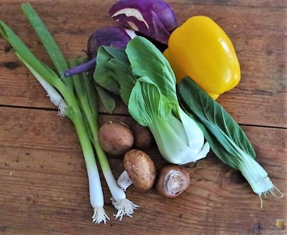 Gedämpftes Gemüse,Käsesauce, Blaue Kartoffeln (7)