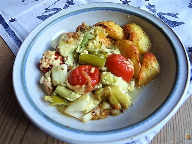 Lauchgratin und Kartoffelspalten (17)