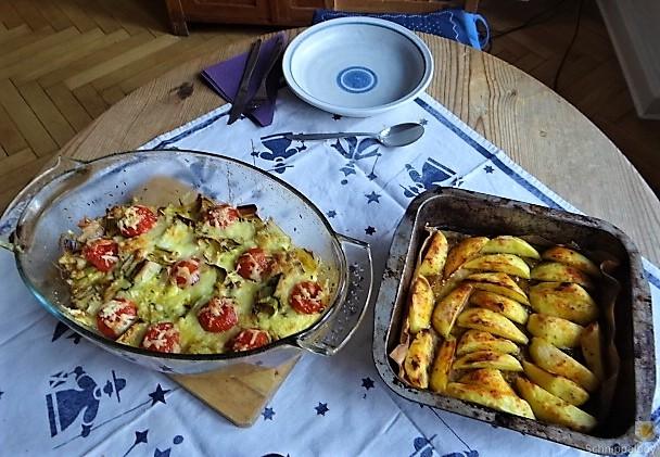 Lauchgratin und Kartoffelspalten (5)