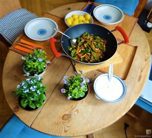 Wokgemüse und Erbs-Ricotta Creme (7)
