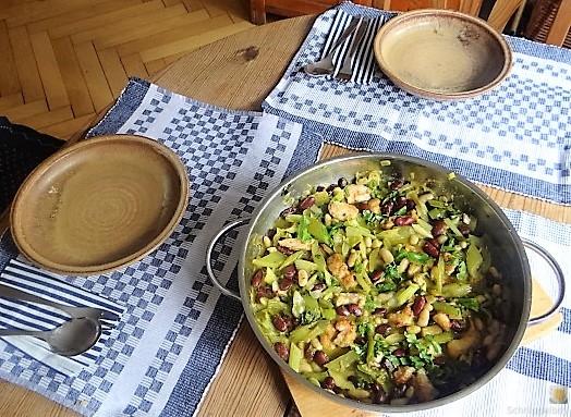 Bohnen-Bleichsellerie Pfanne und Putenschnitzel (6)