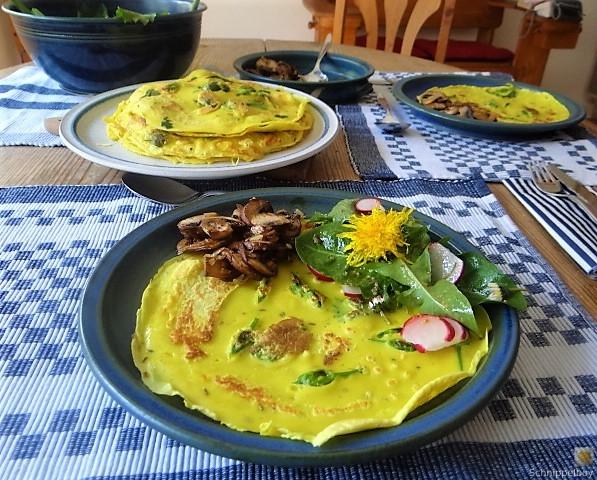 Eierpfannkuchen mit Knospen vom Bärlauch und Löwenzahn (7)