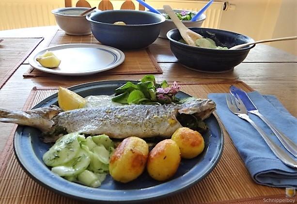 Forelle, Salate und Dip (8)