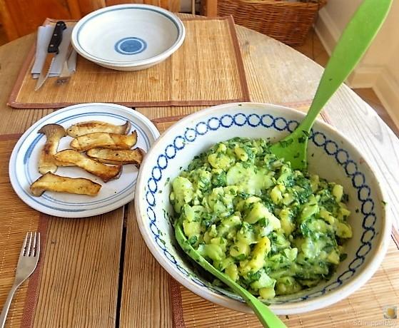 Kartoffel-Bärlauch-Gurkensalat, Kräuterseitlinge (7)