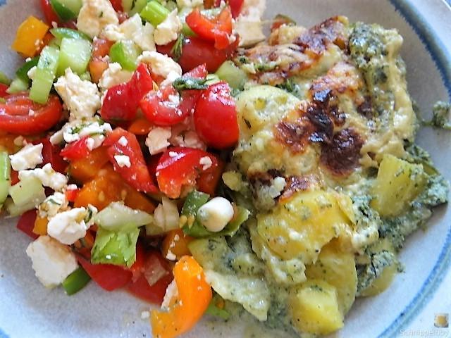 KartoffelBrennessel Gratin, Gemischter Salat (5)