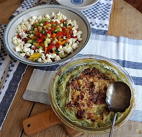 KartoffelBrennessel Gratin, Gemischter Salat (8)