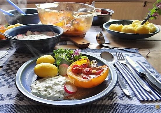 Gefüllte Paprika,Tzatziki,Bunter Salat (11)