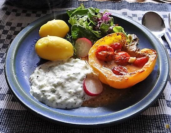 Gefüllte Paprika,Tzatziki,Bunter Salat (15)