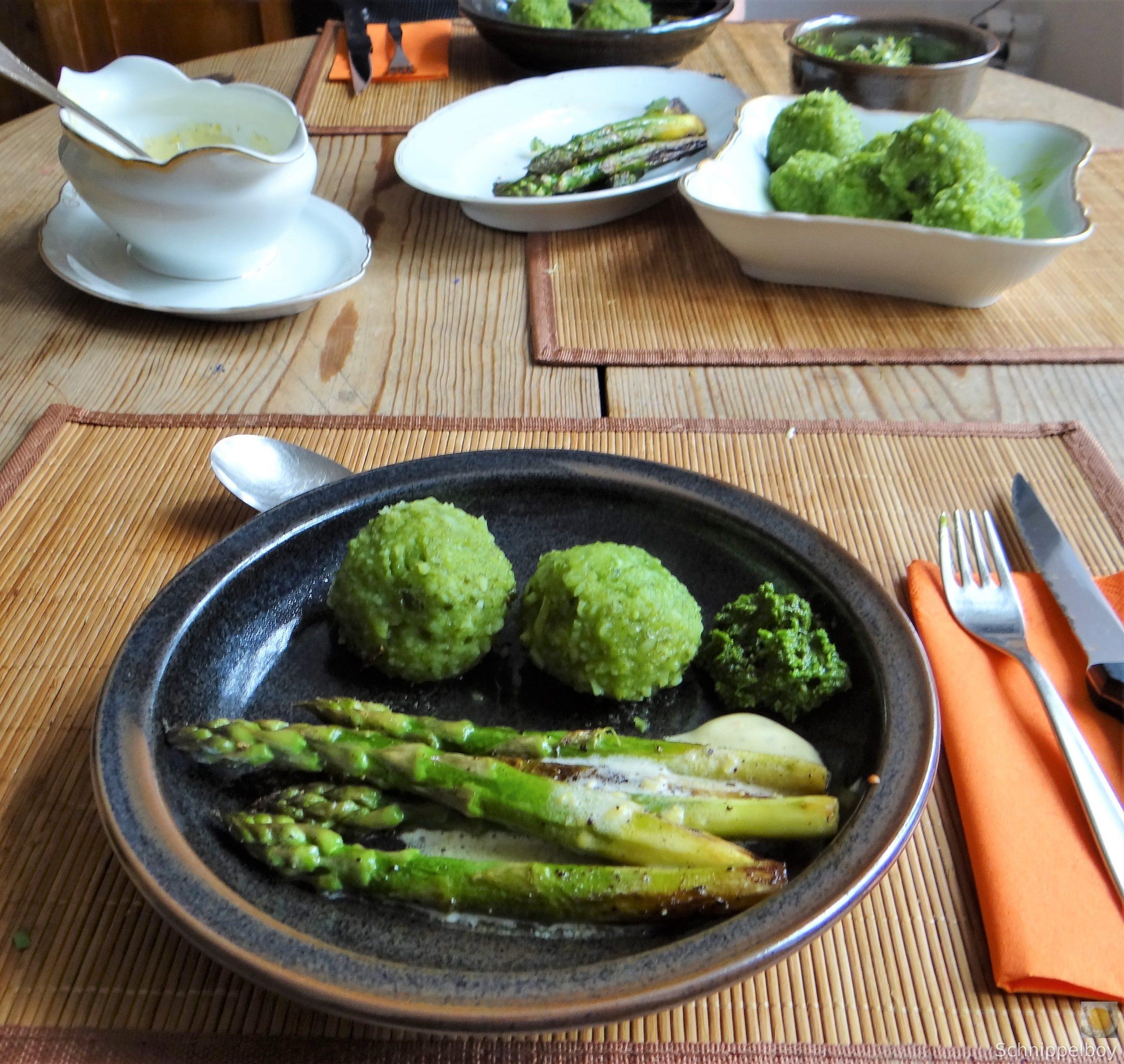 Grüne Klöße, Grüner Spargel, Zitronensauce (21)