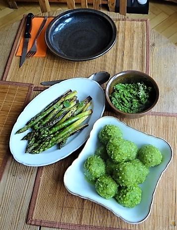 Grüne Klöße, Grüner Spargel, Zitronensauce (6)