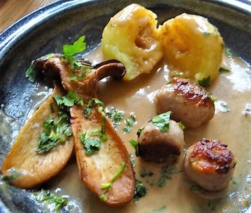 Kleine Klöse, Kleine Fleischbällchen,Pilze, Sauce (4)