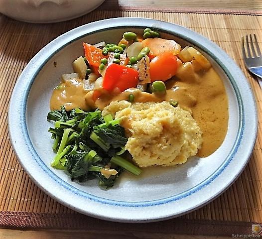 Gedämpftes Gemüse, Ernußsauce und Polenta, (1)