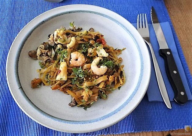 Zucchini Zoodles, Gemüse und Meeresfrüchte (2)