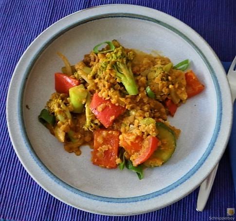 Gedünstetes Gemüse mit roten Linsen (4)